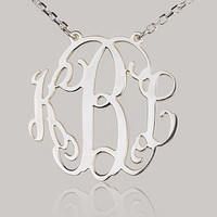 Monogram necklace  125 inch Personalized Monogram  by BPJnecklaces