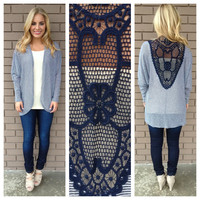Navy Stripe Embroidered Back Cardigan