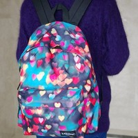Dreamy Colorful Hearts Backpack (Red & Blue)