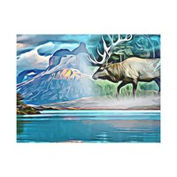 Elk Animal Spirit Abstract Landscape Art Canvas Print