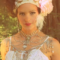 Stunningly Romantic Wedding Couture Great Gatsby Girl PRINCESS BRIDE Shoulder Necklace Ooak