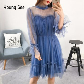 Young Gee Dress Fashion Women Elegant Sweet Mesh Trimmed with Agaric Lace Dresses Sheer Sexy Party Princess Slim Spring Vestidos