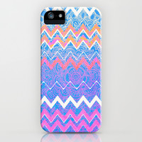 Ups And Downs - Pink, Blue And White Chevron iPhone & iPod Case by Tangerine-Tane