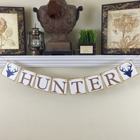 Custom Name Banner, Baby Shower Gift, Woodland Nursery Decor, Deer Antlers, Baby Shower Decor, Kids Wall Art, Rustic Baby Name Decor