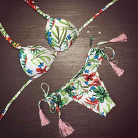 Leaf Print Comfortable Swimsuits