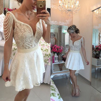 Homecoming Dresses, Mini A-Line Lace Homecoming Dresses with Deep V-Neck