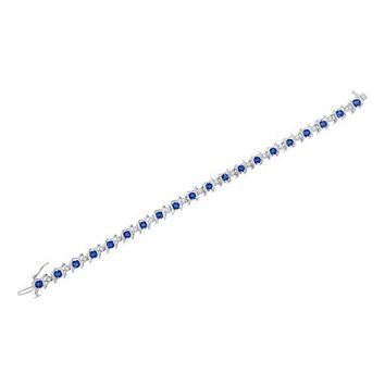 Sterling Silver Blue Sapphire and Diamond S-Link