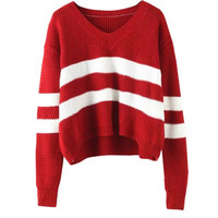 Striped V-neck Knit Long Sleeve Sweater