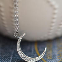 Dainty Moon Necklace, Bohemian Necklace, Gypsy Jewelry, Layering Necklace, Silver Moon Jewelry