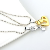 1set Charm Woman Couple Jewelry Love Heart Arrow Pendant Necklaces For Womens Friendship Gold Silver Color Long Chains Necklace