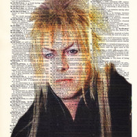 Labyrinth Poster, David Bowie Art, Jareth Art, Goblin King Dictionary Art Print, Upcycled Book Art, Home Decor, Wall Decor, Mixed Media Art