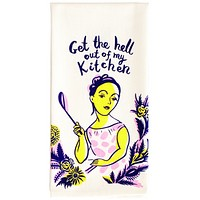 Get the Hell Out of My Kitchen Screen-Printed Dish Towel in Pink, Purple and Yellow