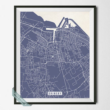 Grimsby Print, England Poster, Grimsby Poster, Grimsby Map, England Print, England Map, Street Map, Room Decor, Wall Art