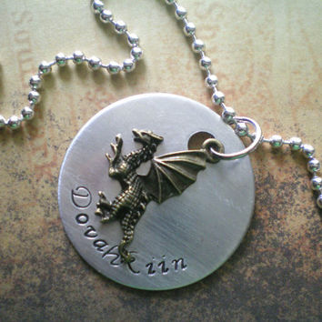 dovahkiin - hand stamped skyrim inspired necklace