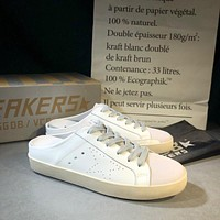 Golden Goose Ggdb White Leather And White Star Slipper