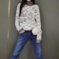 """""""Gucci"""" Women All-match Casual Fashion Multicolor Letter Sequin Embroidery Long Sleeve Turtleneck Pullover Knit Sweater Tops"""