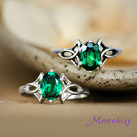 Emerald Green Spinel Trinity Knot Engagement Ring in Sterling - Celtic Triskele Right Hand Ring, Sterling Silver Celtic Promise Ring