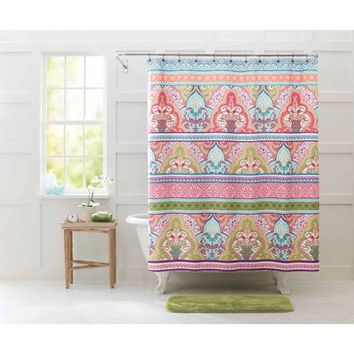 Better Homes and Gardens Jeweled Damask Shower Curtain, Brown - Walmart.com