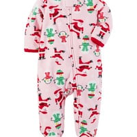 Fleece Zip-Up Christmas Sleep & Play