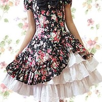 Knee-length Cotton Square Short Sleeves Natural Country Lolita Dress With Tiers