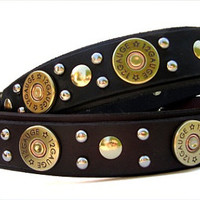 Dog Collar Leather with Shotgun Shell Conchos in Black or Brown