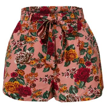 Stretchy Floral Print High Waisted Shorts with Belt (CLEARANCE)