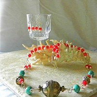 Ethnic Turkoman Silver Bead Necklace Coral, Turquoise, Coral Earrings