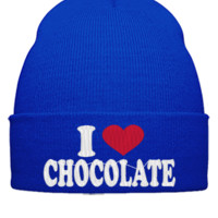 I LOVE CHOCOLATE EMBROIDERY HAT - Beanie Cuffed Knit Cap
