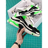 Balenciaga Triple S Trainers White Green Black Sneakers