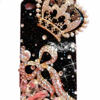 1 PCS  Handmade Bling Crystal iPhone 4G 4S  Back  Case Cover classical crown,282a