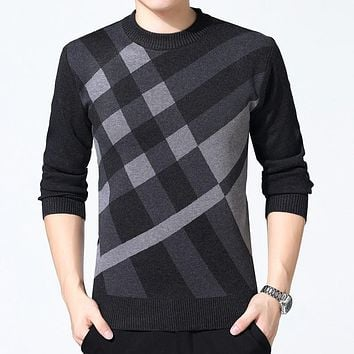 Sweater Mens Thick Warm Cashmere Turtleneck Men Knitted Plaid Sweaters Slim Fit Pullover Pull Homme Classic Wool Knitwear