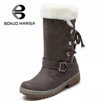 BONJOMARISA 2016 New Women Boots Russia Warm Outdoor Mid-calf Riding Boots Women's Fur Boots Winter Shoes Waterproof Snow Boots