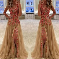 Hot Sale Sleeveless Ball Gown Embroidery One Piece Dress [198523748378]