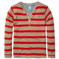 Scotch Shrunk 2 in 1 Grandad Pull with Inner Tee - Red Stripe - 1441-01.60502 - - FINAL SALE