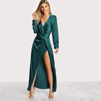 Green Collared Plunge Neck Twist Satin Dress Deep V Neck Slim Maxi Dresses Women Long Sleeve Sheath Party Dress