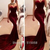 Wine Red Sweetheart Long Train Sexy Mermaid Evening Dresses Corset Prom Gowns 2015 Formal Party Dress Elegant
