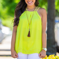 Bright As The Sun Top-Lime – Simply Dixie Boutique