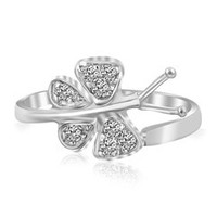 Fancy White Cubic Zirconia Accented Butterfly Rhodium Plated Toe Ring in Sterling Silver