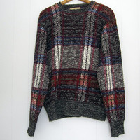 Vintage 90s Crazy Cosby Plaid Sweater Indie Multicolor M