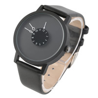 Mini Unique Rotation Dial Scale Design Watches Steel Strap Analog Quartz Wrist Watch