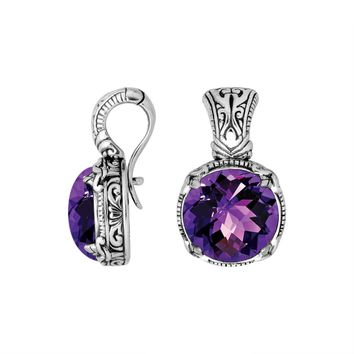 AP-8029-AM Sterling Silver Round Shape Pendant With Amethyst & Enhancer Pendant Bail