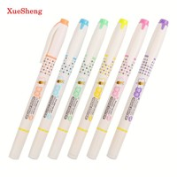 6PCS/set Double Head Highlighter Colored Pen School With Invisible Ink Pen Highlighter School Supplies Markers H-2290