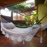 Beige Single Hammock handwoven Natural Cotton Special by hamanica