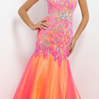 (PRE-ORDER) Blush 2014 Prom Dresses - Hot Pink & Yellow Strapless Embroidered Long Prom Gown
