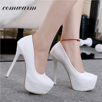 The wedding bride beautiful combination high heel shoes for women Bright lady pumps shoes round toe platform high heel shoes
