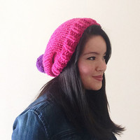 Solid colored custom chunky knit slouch beanie for her with pom pom