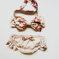 Vintage Bow Bandeau Sunsuit Cotton Bikini Style.Pita Pata DiVa Halter Neck Top Flowers Roses stripes Sunkini Sunbathing. Sexy cute Ruffle