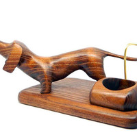"""New Wooden Pipes Stand """"DACHSHUND"""" for Tobacco Smoking Pipes. Handmade Ash-Tree"""