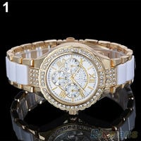 Women's Fashion Roman Numerals Rhinestone Alloy Analog Quartz Dress Wrist Watch