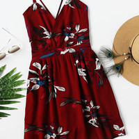 Tropical Print Criss Cross Back Dress